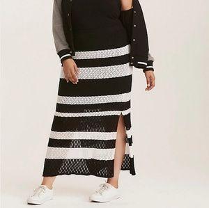 Torrid Mixed Stitch Stripe Sweater Maxi Skirt